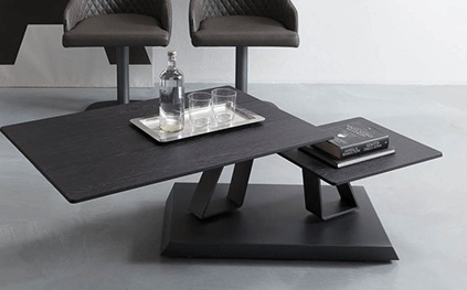 Table en verre twist sasso plateau tournant